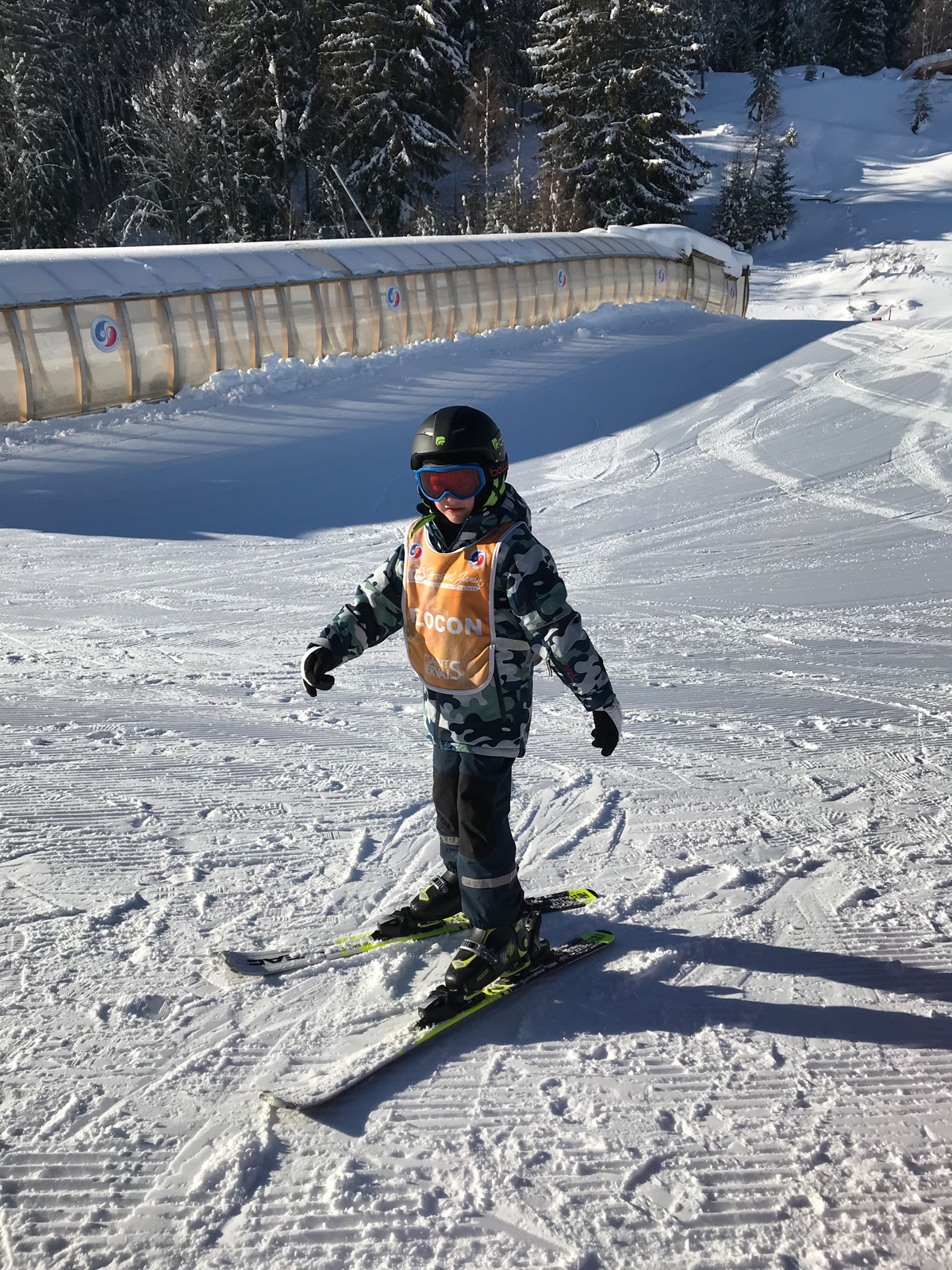 The 6yo learning to ski at St Gervais's excellent ski school