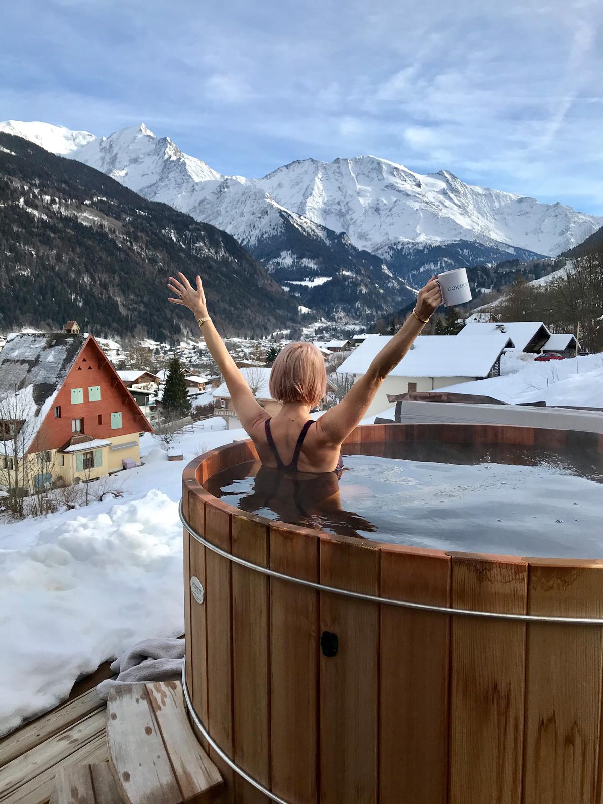 Experiencing hot tub joy