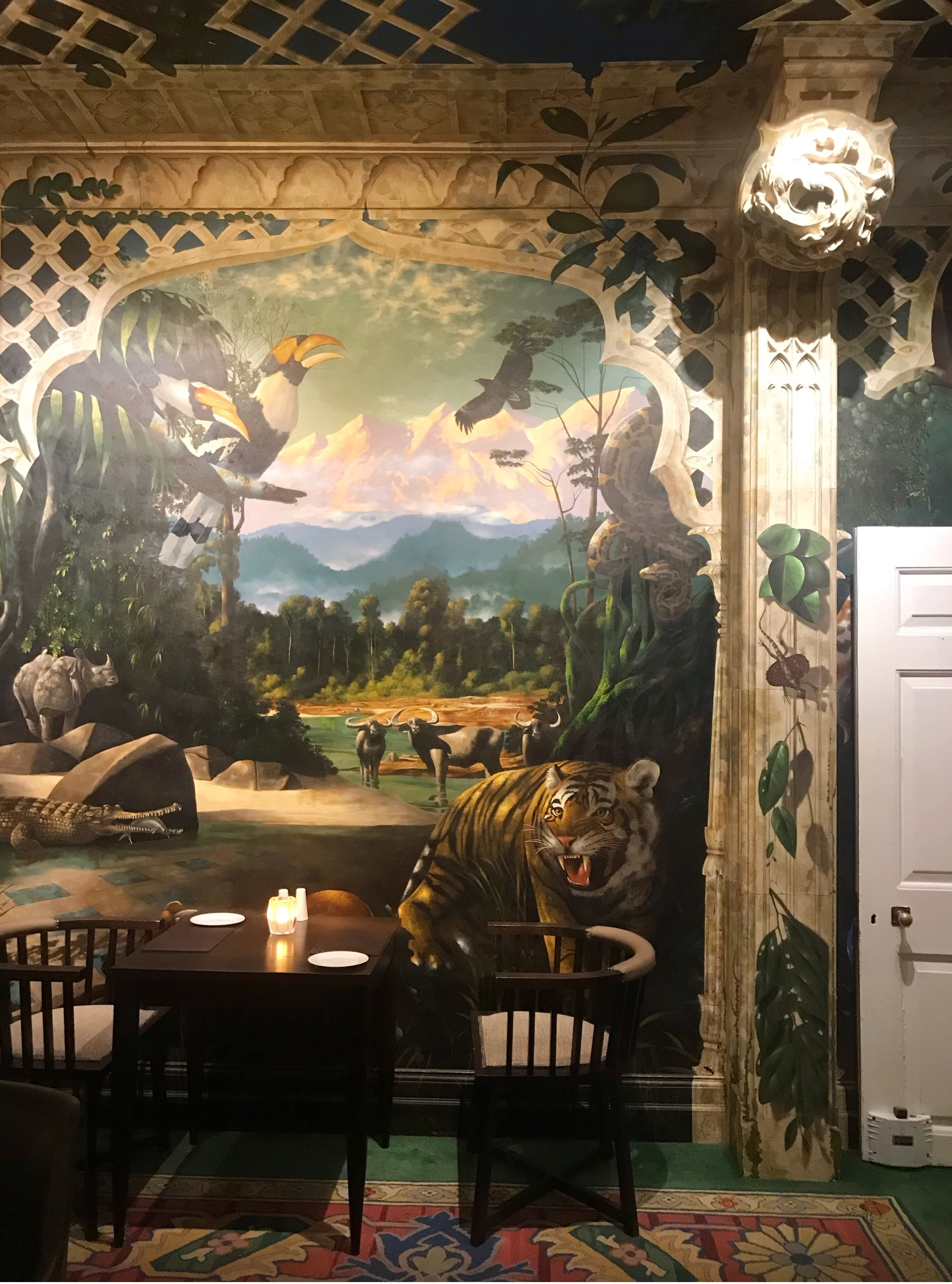 The paintings on the dining room walls move if you look for long enough