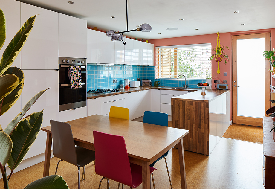 Bo's colourful kitchen in her 1970s London townhouse