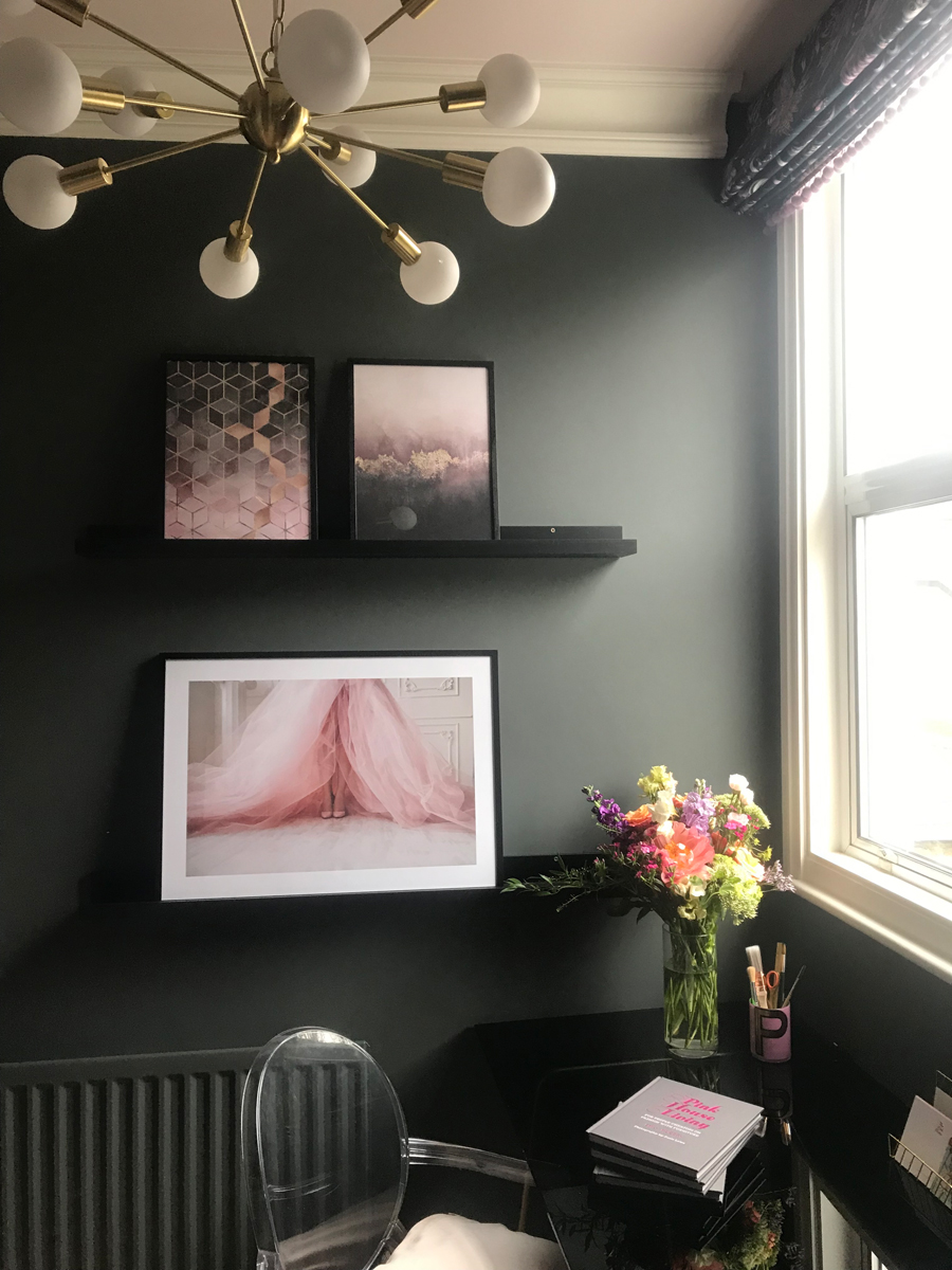 Desenio pink prints in The Pink House study