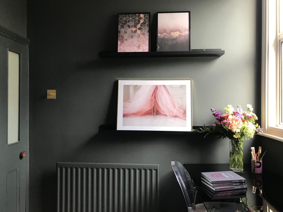 Prints by Desenio (From top, L to R: Pink Gradient Cubes; Pink Sky; Pink Dress)