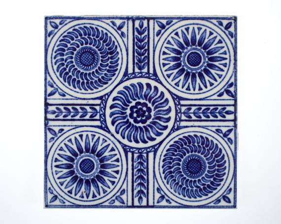 Antique 1890s Minton Blue & White Aesthetic Movement Pottery Tile from  Simon Curtis