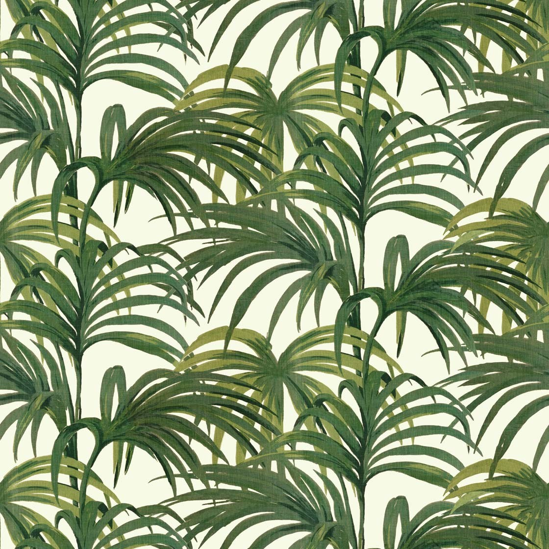 Palmeral Off White/Green Wallpaper from  House of Hackney