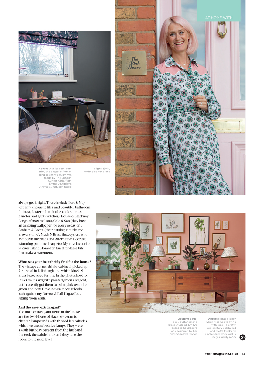 Fabric Magazine - at home with Emily Murray in South London