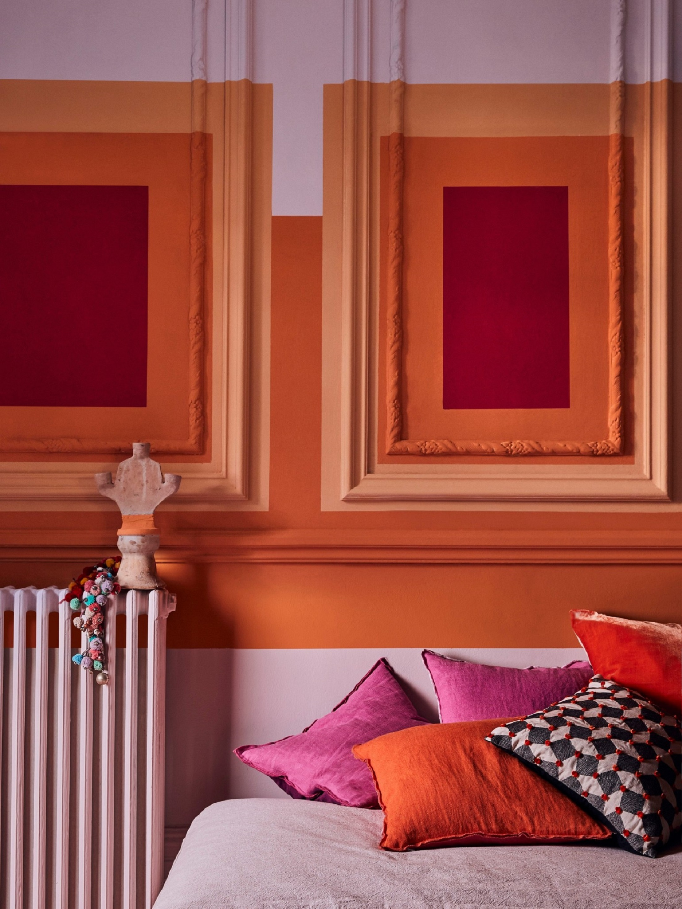 Annie Sloan's Antoinette shade works beautifully paired with deeper, bolder hues (styled by Marianne Cotterill)