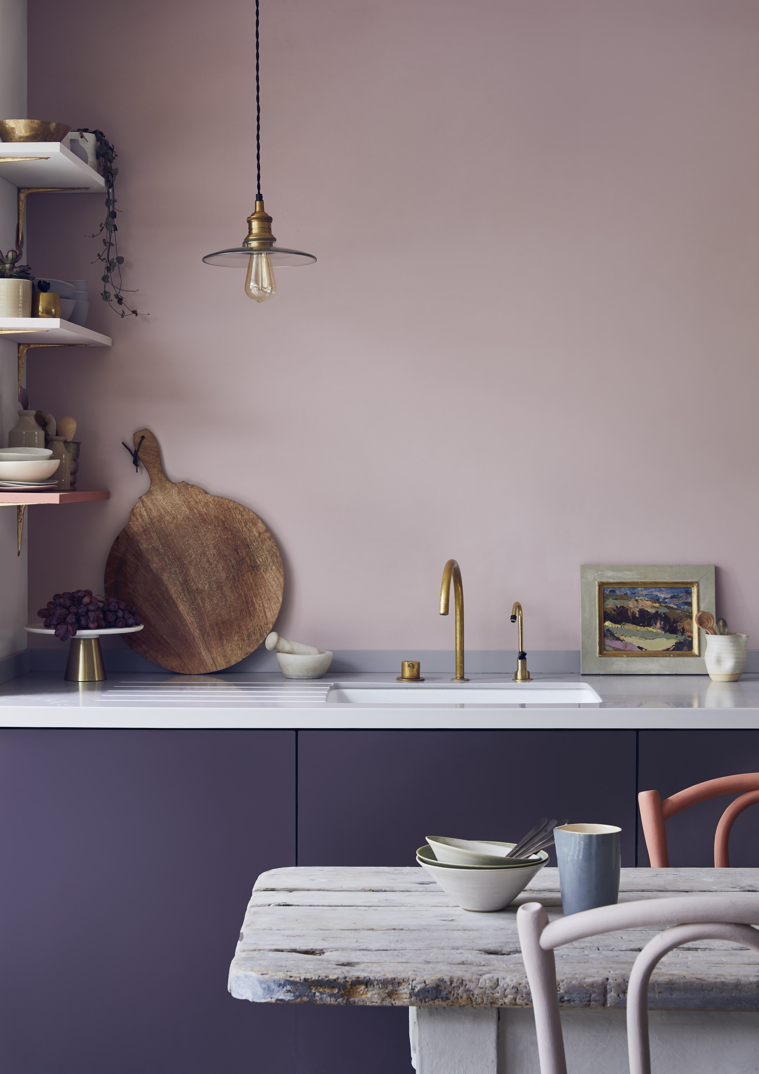 Choose a pink that pairs well with earthy woods or metallics (these are Annie Sloan paints, image styled by Jennifer Haslam)
