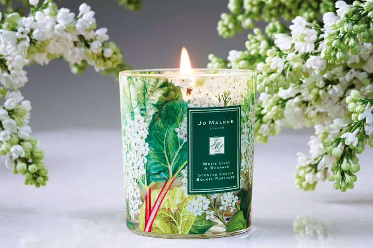 White Lilac & Rhubarb Charity Home Candle  by Jo Malone, £47. Three quarters of the RRP goes to supporting individuals and families affected by mental health problems through dedicated projects with inspirational charities.