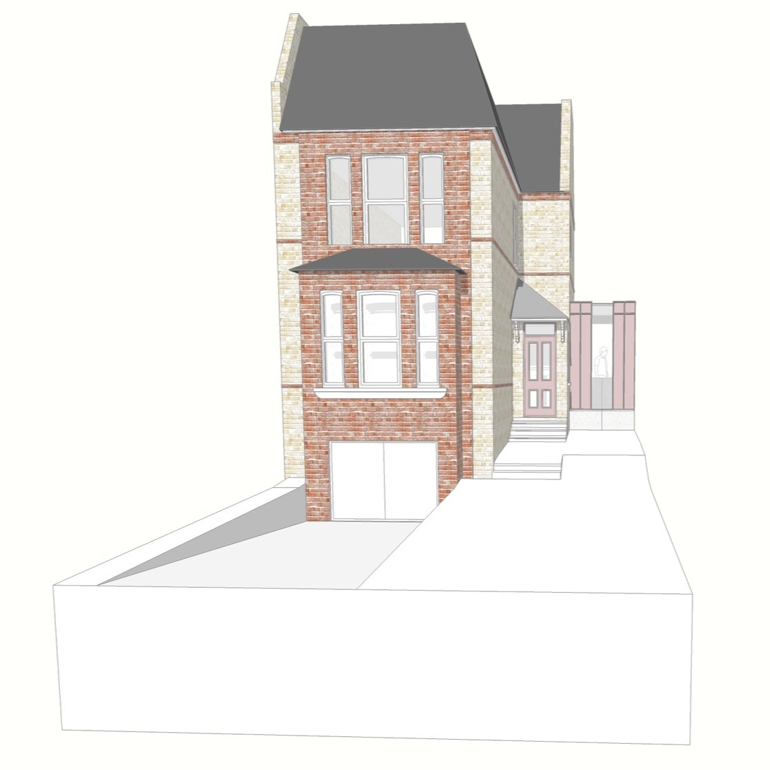 3D image of The Pink House, complete with the pink steel extension we've received planning permission for