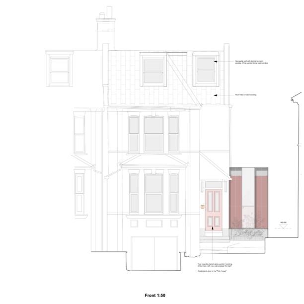 Pink steel shower room extension - Lewisham