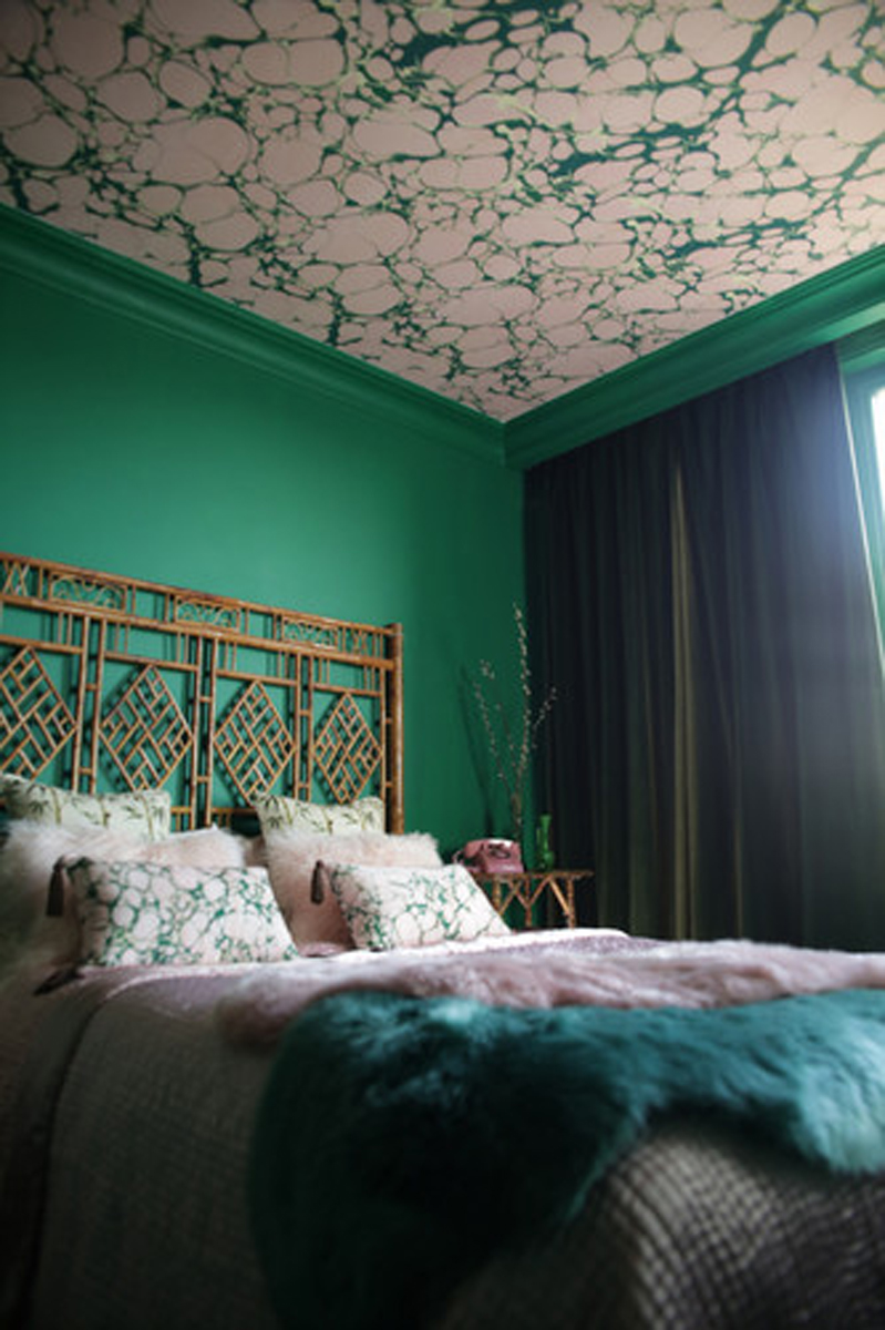 Margate Marble Wallpaper in Emerald Pinky  by Poodle and Blonde £110 per roll
