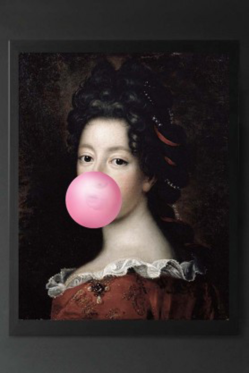 Pink Bubblegum Traditional Lady Portrait Canvas  from Rockett St George, £261