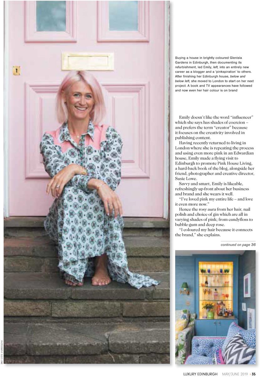 Emily Murray in Luxury Edinburgh magazine