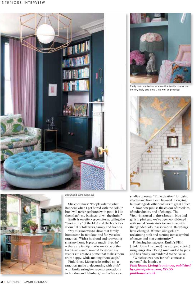 Pink House Living in Luxury Edinburgh magazine