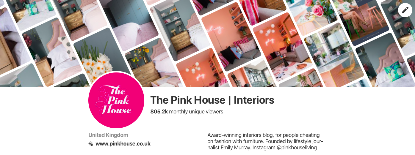 The Pink House's profile cover and description