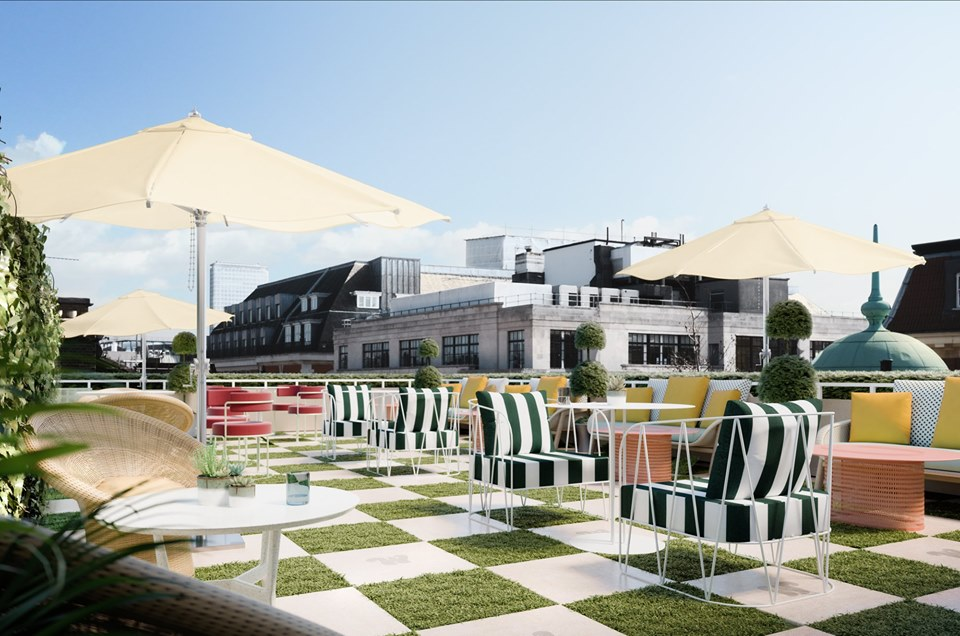 Just your average chequer-board turf rooftop bar