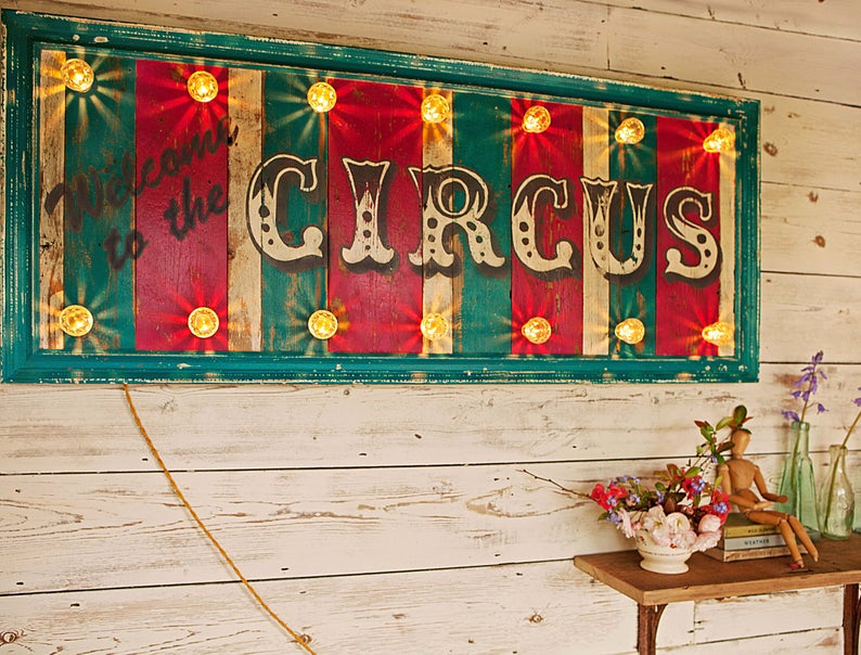 Welcome to the Circus Sign  from Etsy, £485