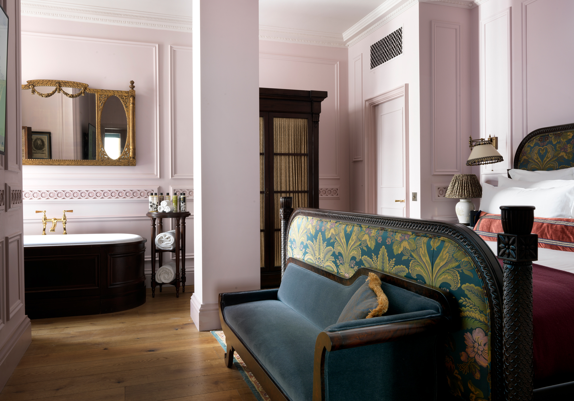 LOOK AT THOSE PINK WALLS. Ahem. The Lutyens Suite at The Ned.