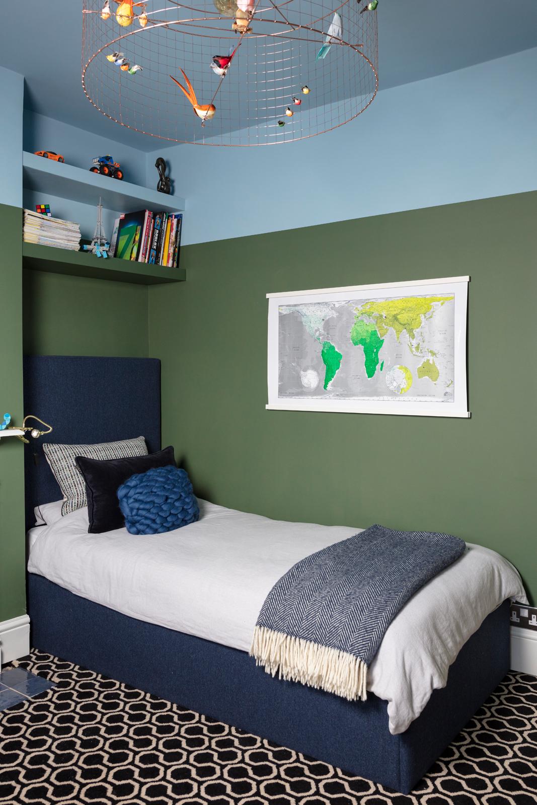 Beautiful dark blue Harlow single bed in Twilight wool marl from sofa.com