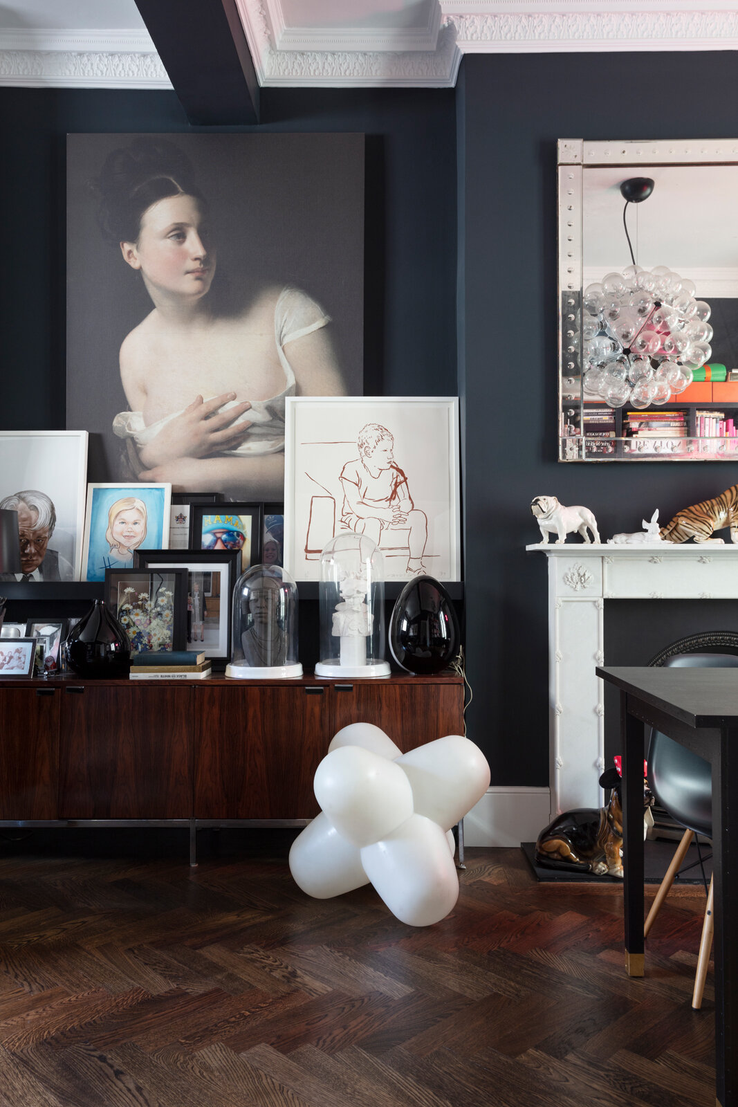 Classical meets contemporary in this stylishly dark London period house