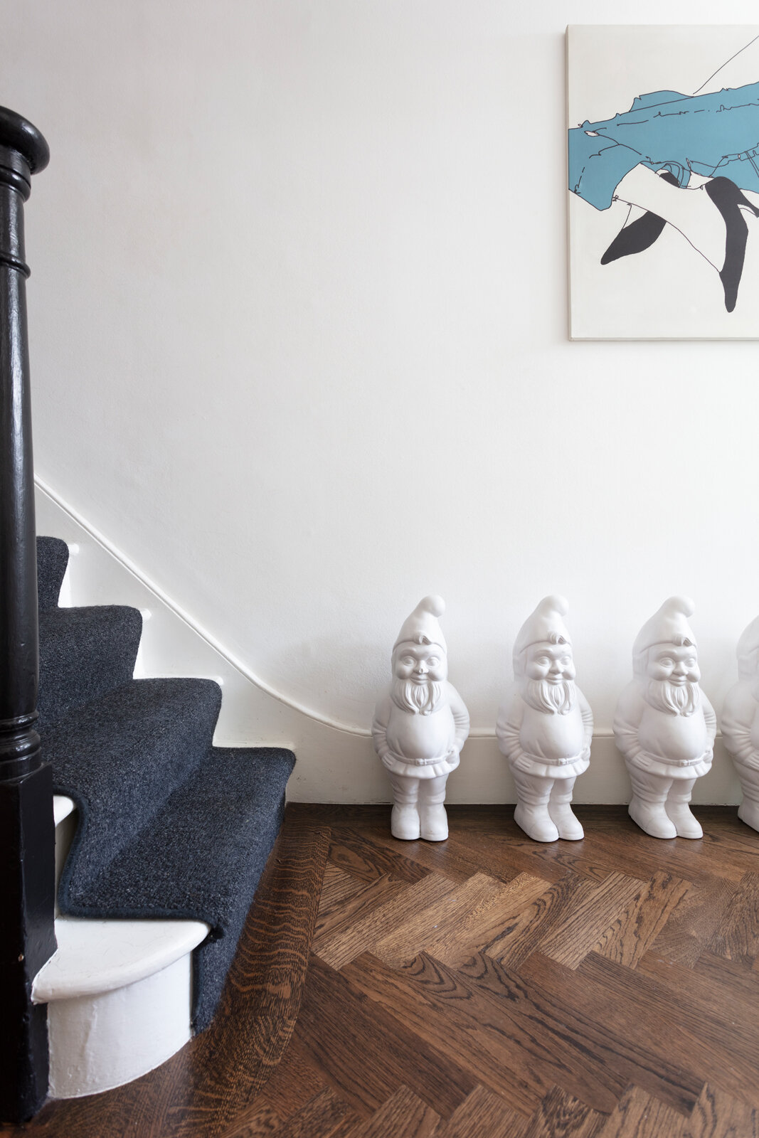 Gnomes and a parquet floor in the hallway