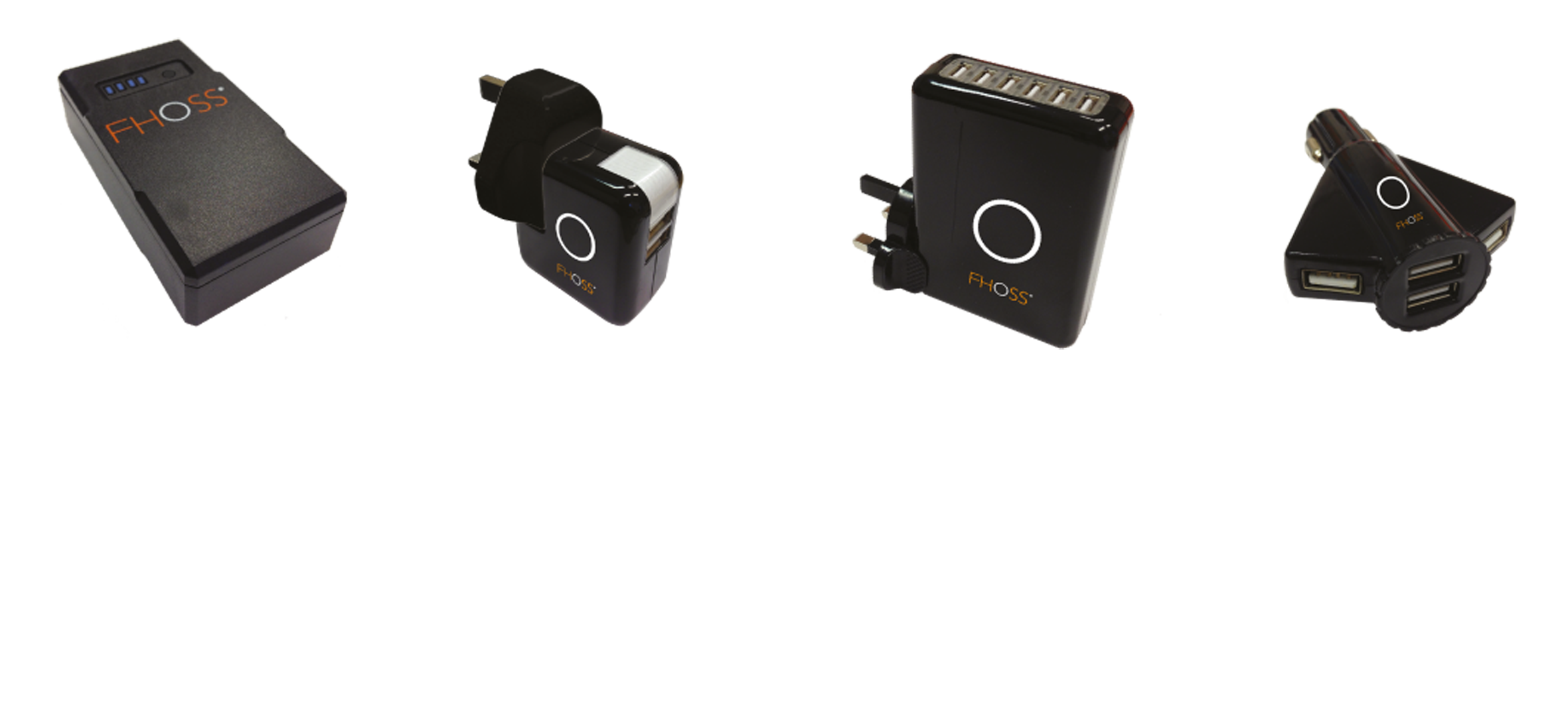 Virtus Powercell & Charging options    Dimensions:  43mm x 80mm x 22mm • EMC Compliant • CE Compliant   From left:  Fhoss Virtus Powercell, 2 Port Mains Charger, 6 Port Gang Charger, 4 Port In Car Charger (2 post also available).  Designed with safety in mind, the powercell is compact, robust, water resistant and will provide power to continuously illuminate the sealed Fhoss illuminated strip for up to 12 hours with a 4 hour charge time.   Test Criteria /  RoHS compliant • IP 67 Connector • Recyclable