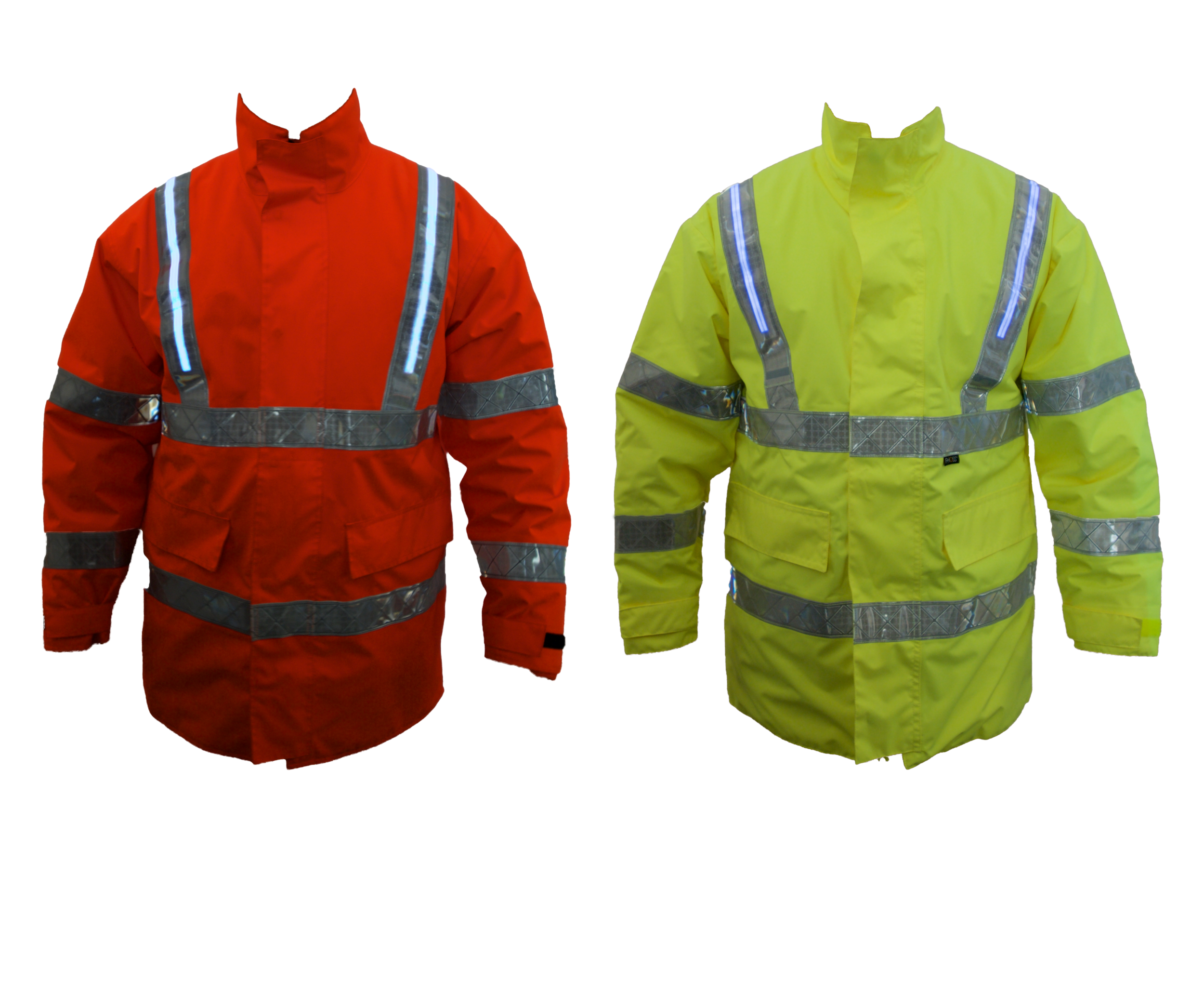 Fhoss Tex Light Foul Weather Jacket   Dual layer design • Sealed Fhoss illuminated Strip • Water proof • High quality fabric • Solid & durable   Test Criteria /  EN ISO 20471:2013 • EN 343 (3:3) • ANSI / ISEA 107 • CSA Z96:02/09 • GO/RT3279  • IP 67 connector