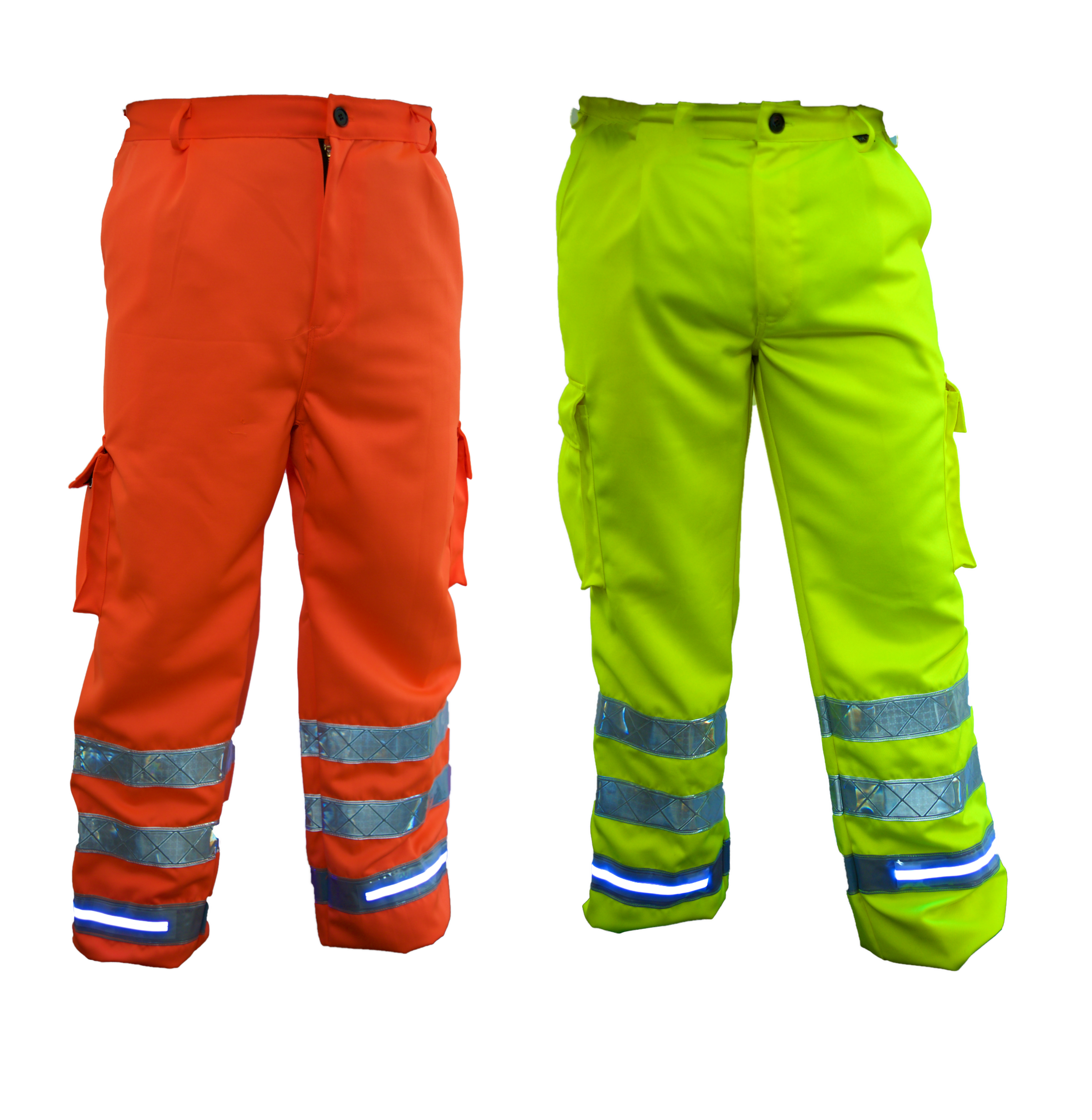 FiSalus Safety Trousers   Casts a glow around the feet to assist in low light • 100% polyester • Sealed Fhoss illuminated strip • Combat pockets • Diamond crotch stitching • Colour options: Yellow & Orange   Test Criteria /  EN ISO 20471:2013 • CSA Z96:02/09 • GO/RT3279 • IP 67 Connector