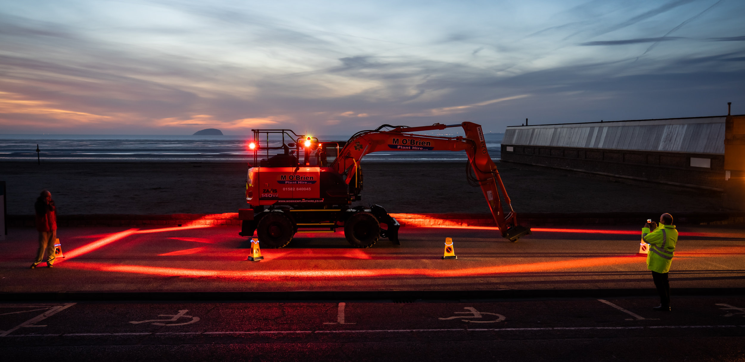 """""""We take safety very seriously, and we now have a total of 25 machines - wheeled and tracked - that are equipped with the Halo lighting system says. It is useful for night work of course, but it also has a value when working indoors on larger industrial building projects. Also when tunneling or in any area where ambient lighting is poor. We've also found the system to be really useful in winter, as it just adds that little bit of extra demarcation around kit before dawn and again, with an early sunset.""""  Dan O'Brien of St Albans-based M O'Brien Plant Hire."""