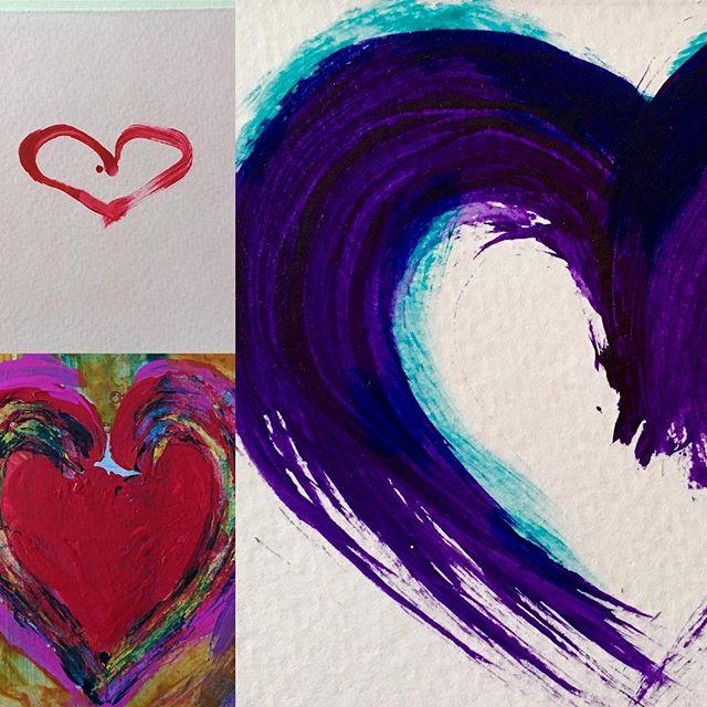 Some more Heart felt gestures #redsandmagentas #brushwork #colourandgesture #iconicsymbol #heartart #artcards #colourliftsyourspirits #funinthestudio #expressivemarkmaking