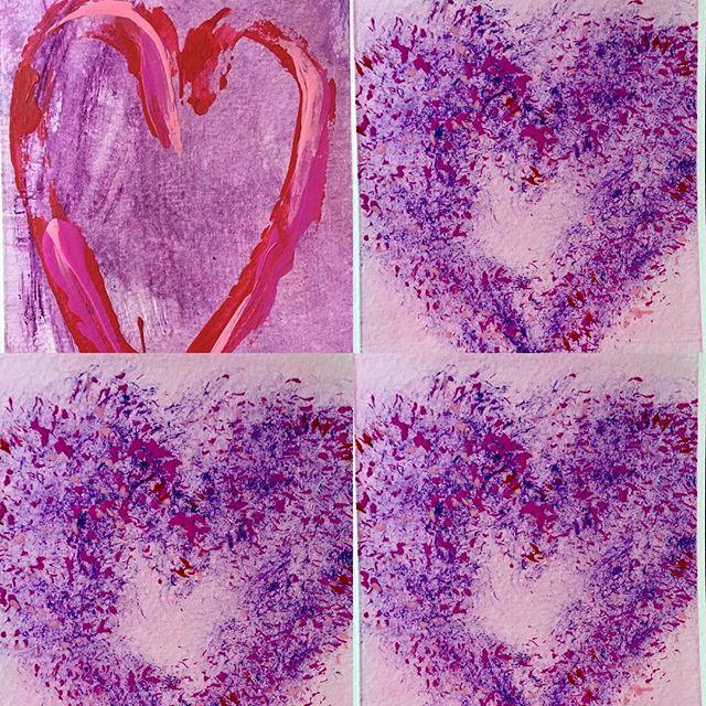 Something different...still enjoying working on my Heart cards/paintings series #colourliftsyourspirits #heartspeaks #universalshapes #iconicshape #heartsymbol #violetandmagentashades