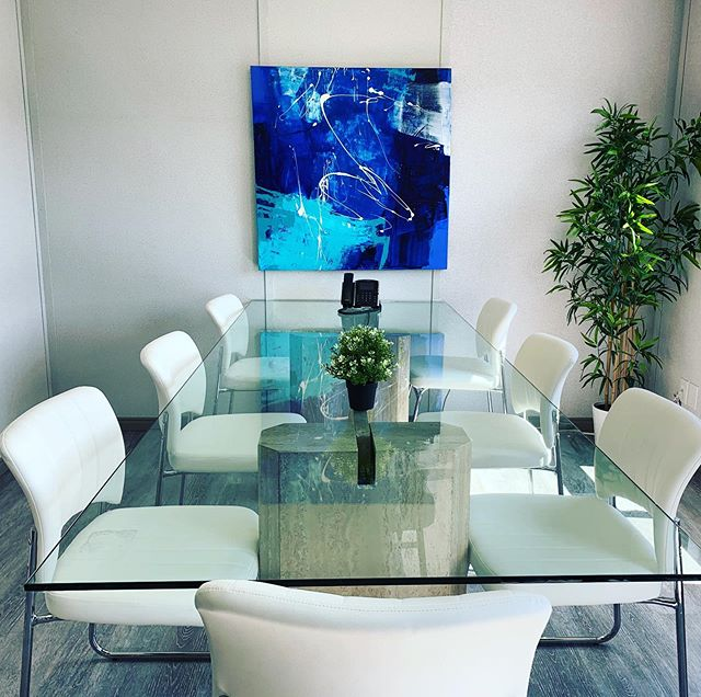 """FlyGTA Airlines has a new artwork hanging in their conference room. 'Maybe Tomorrow', acrylic on canvas, 40""""x40"""" #flygta @artrachter #matchestheirlogo #artonthewall #originalart #localartist @iflygta"""