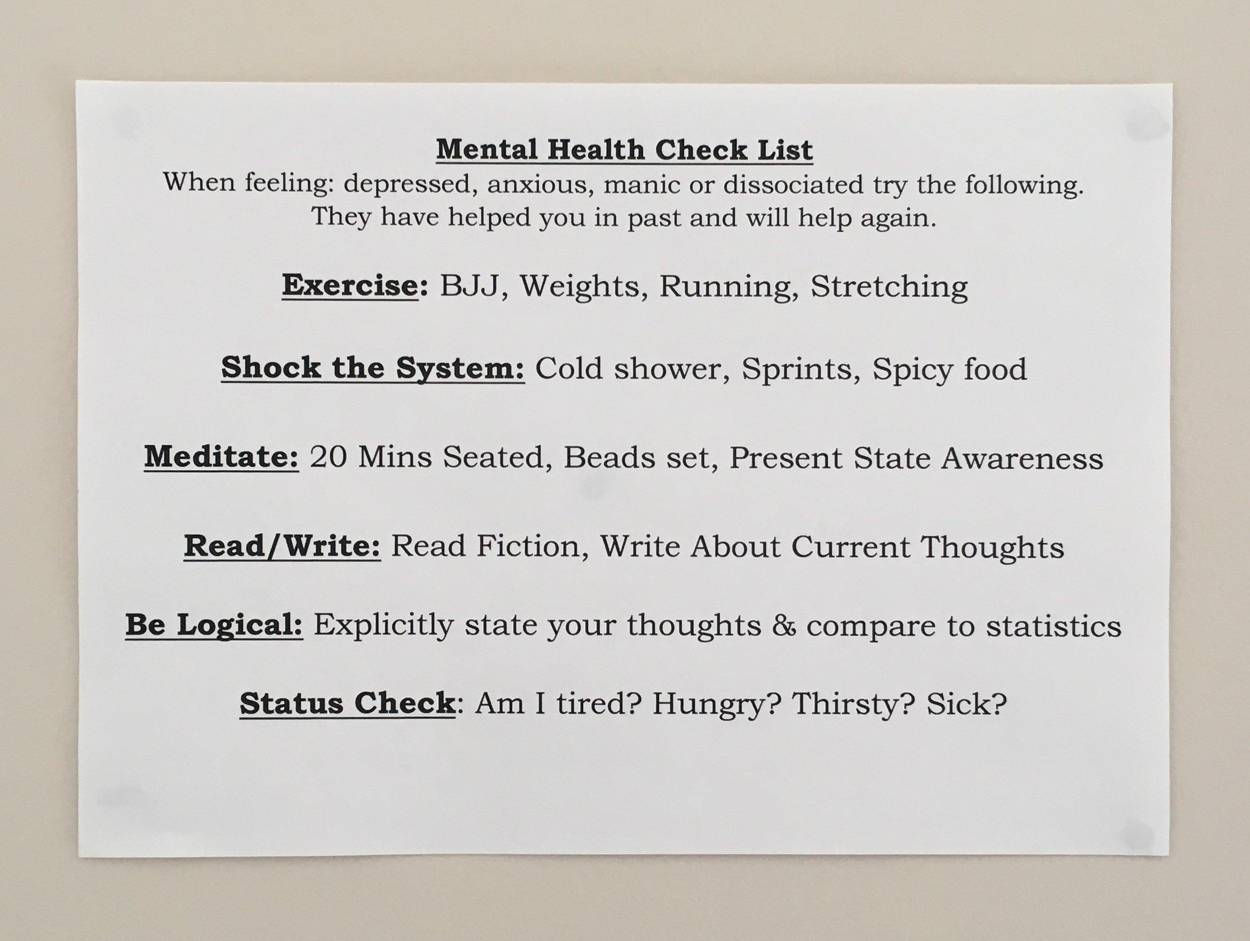 menatl health checklist