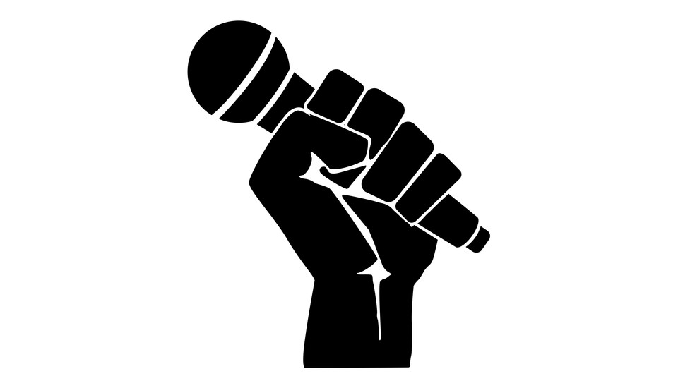 Microphone fist black and white