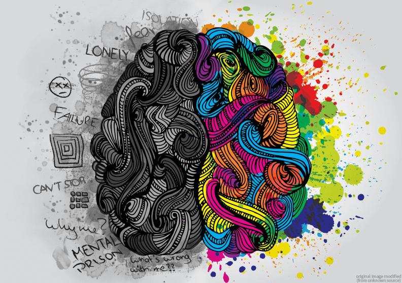 brain mental illness and colourful