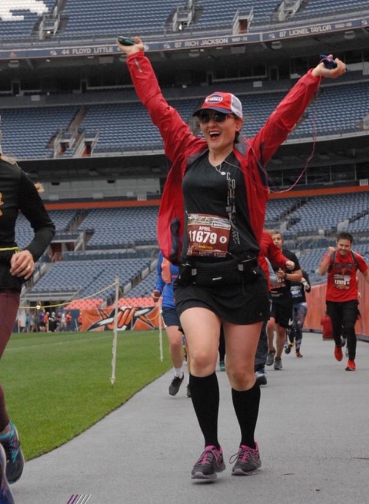 April finishing her First marathon