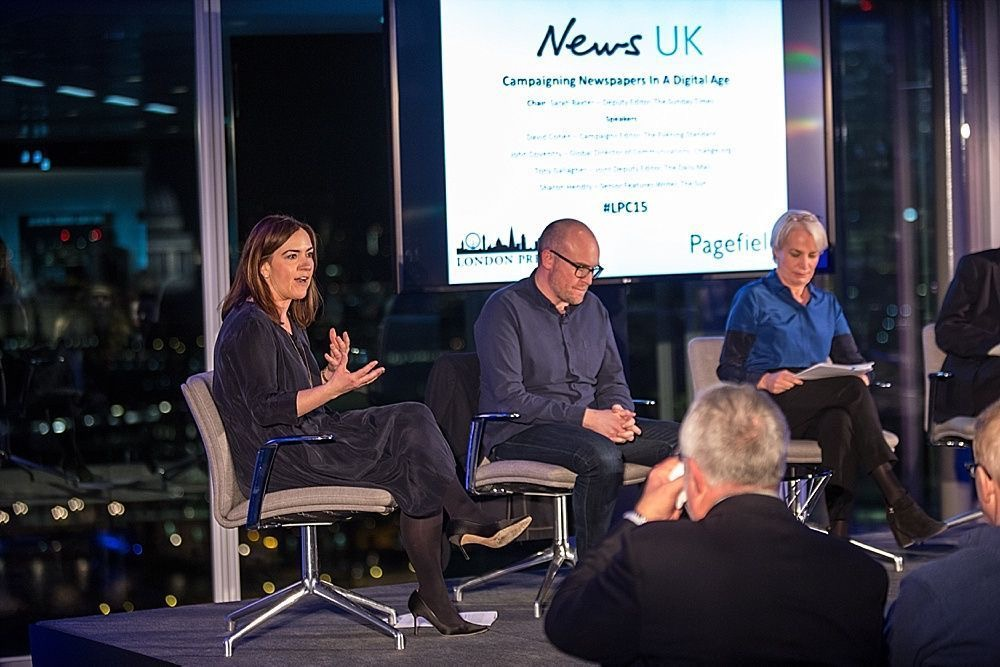 Sharon Hendry as a pannellist in a News UK debate