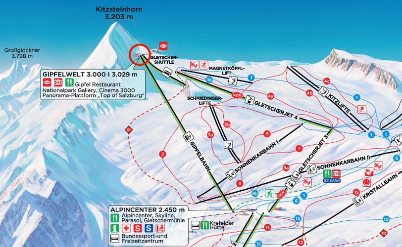 Gipfelwelt marked in red. Map from www.skiinfo.de