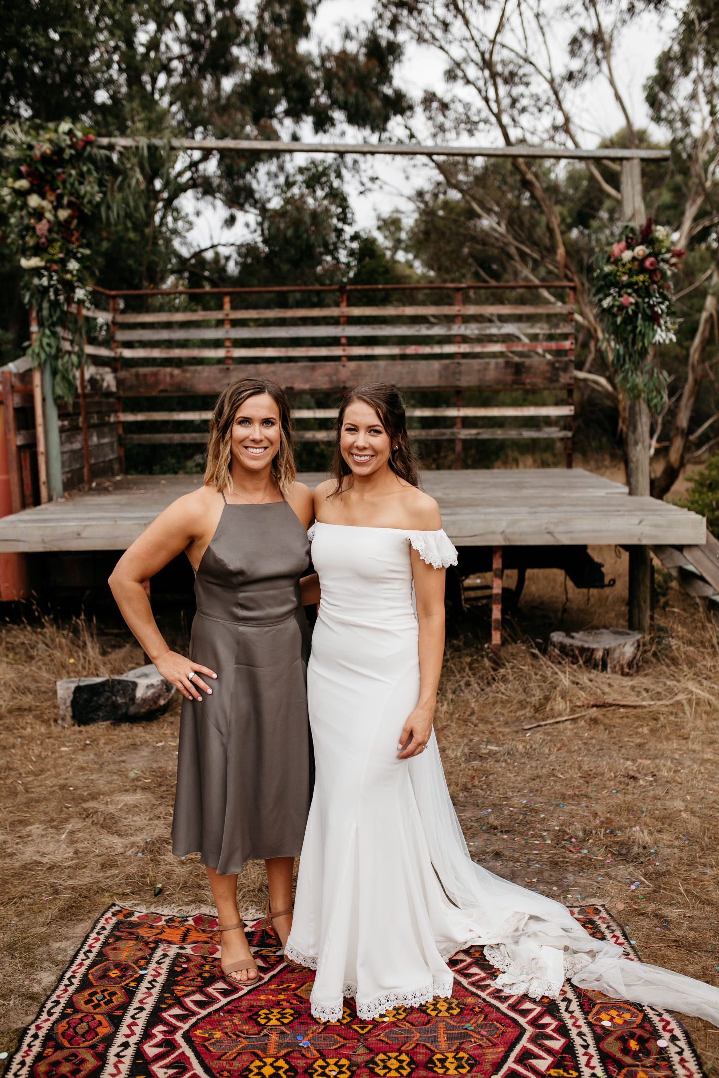 Laura and her bridesmaids wearing khaki halter dress