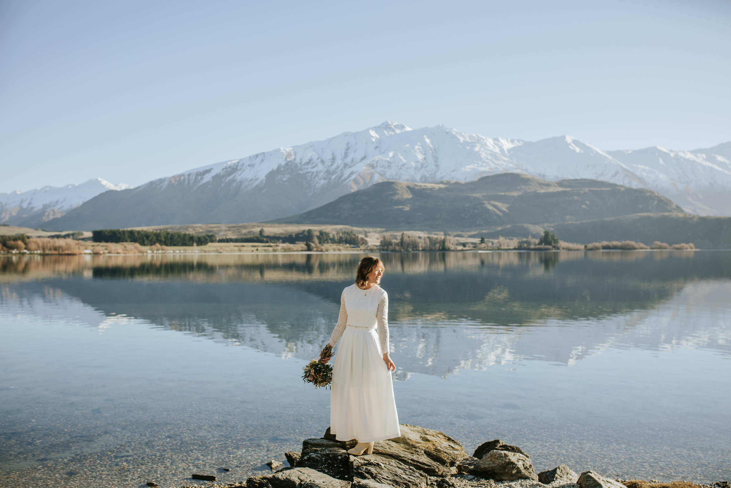 Donna and Michael Custom Lace Bridal Set New Zealand Elopement