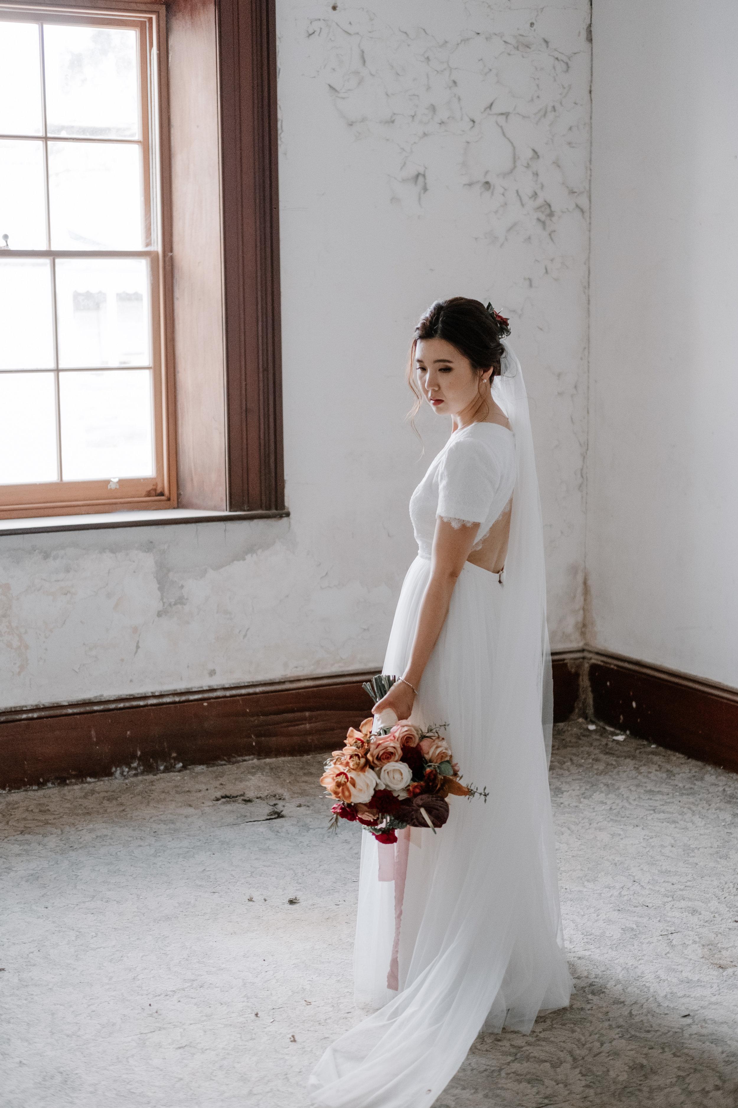 Tiffany Custom Made Wedding Gown with Veil
