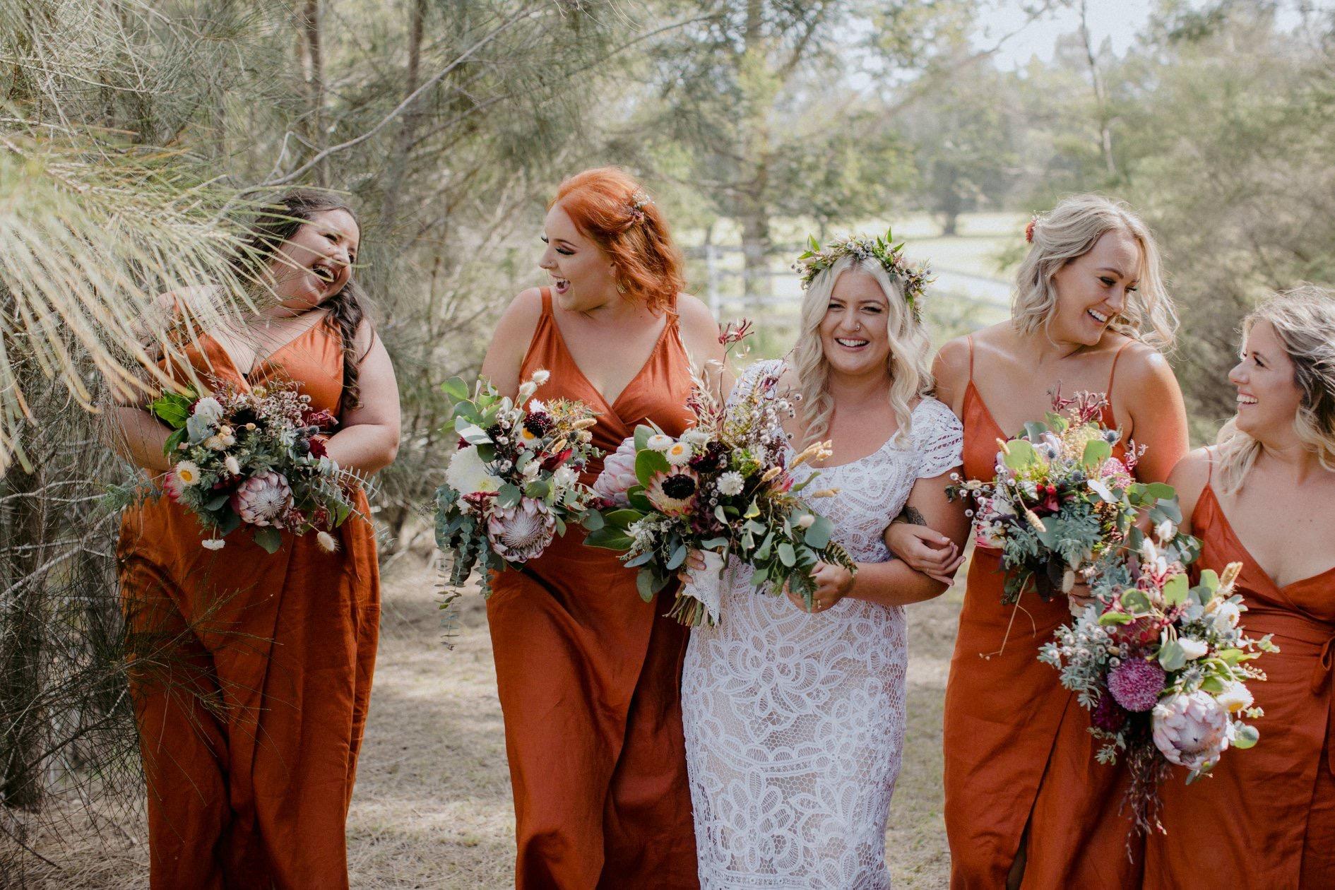 Bridal party in paprika linen wrap dress