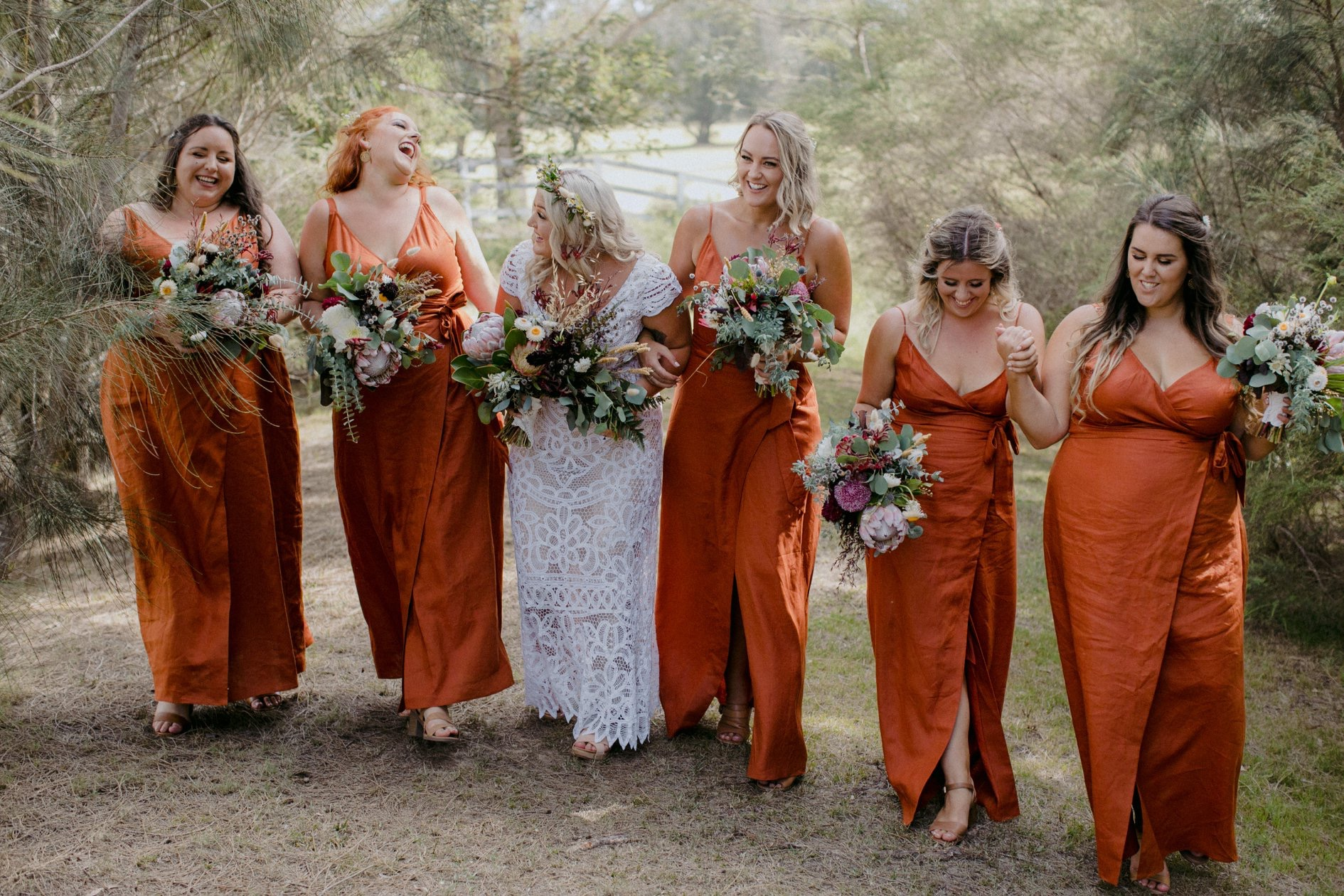 Bridal party in paprika linen Emily dress