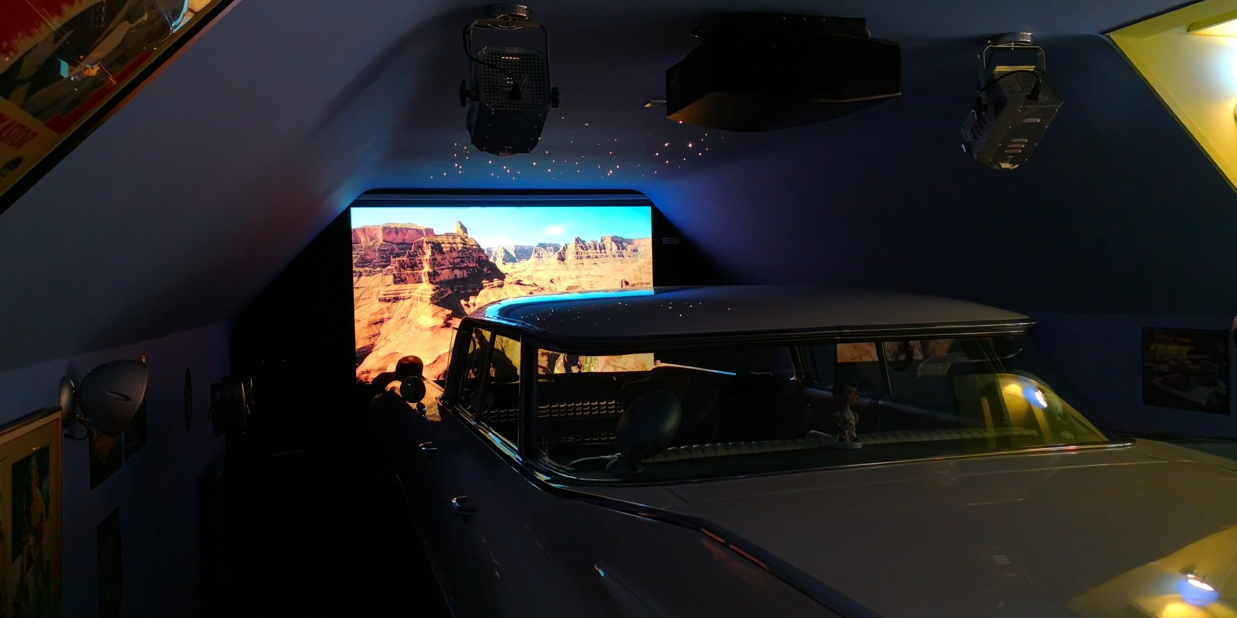A new Sony 4K projector provides a beautiful crystal clear image.