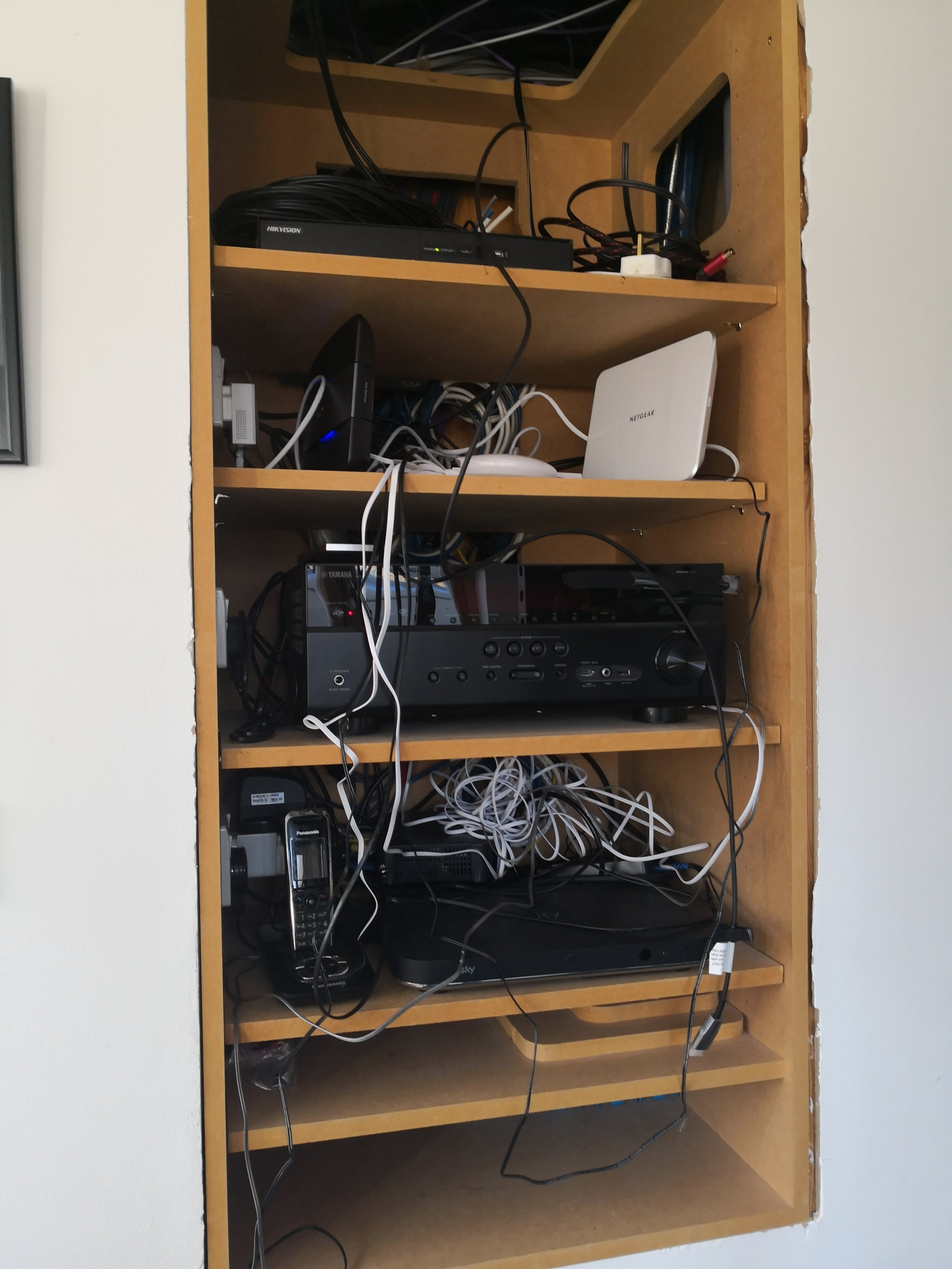 The clients networking and AV equipment when we arrived.