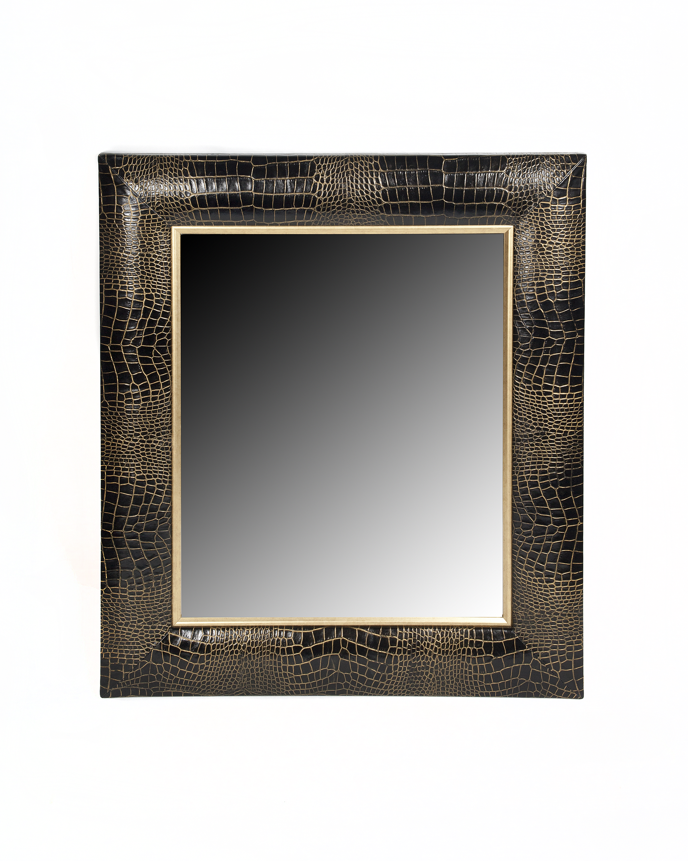 Croc Embossed Leather Framed Mirror with Gold Tipping
