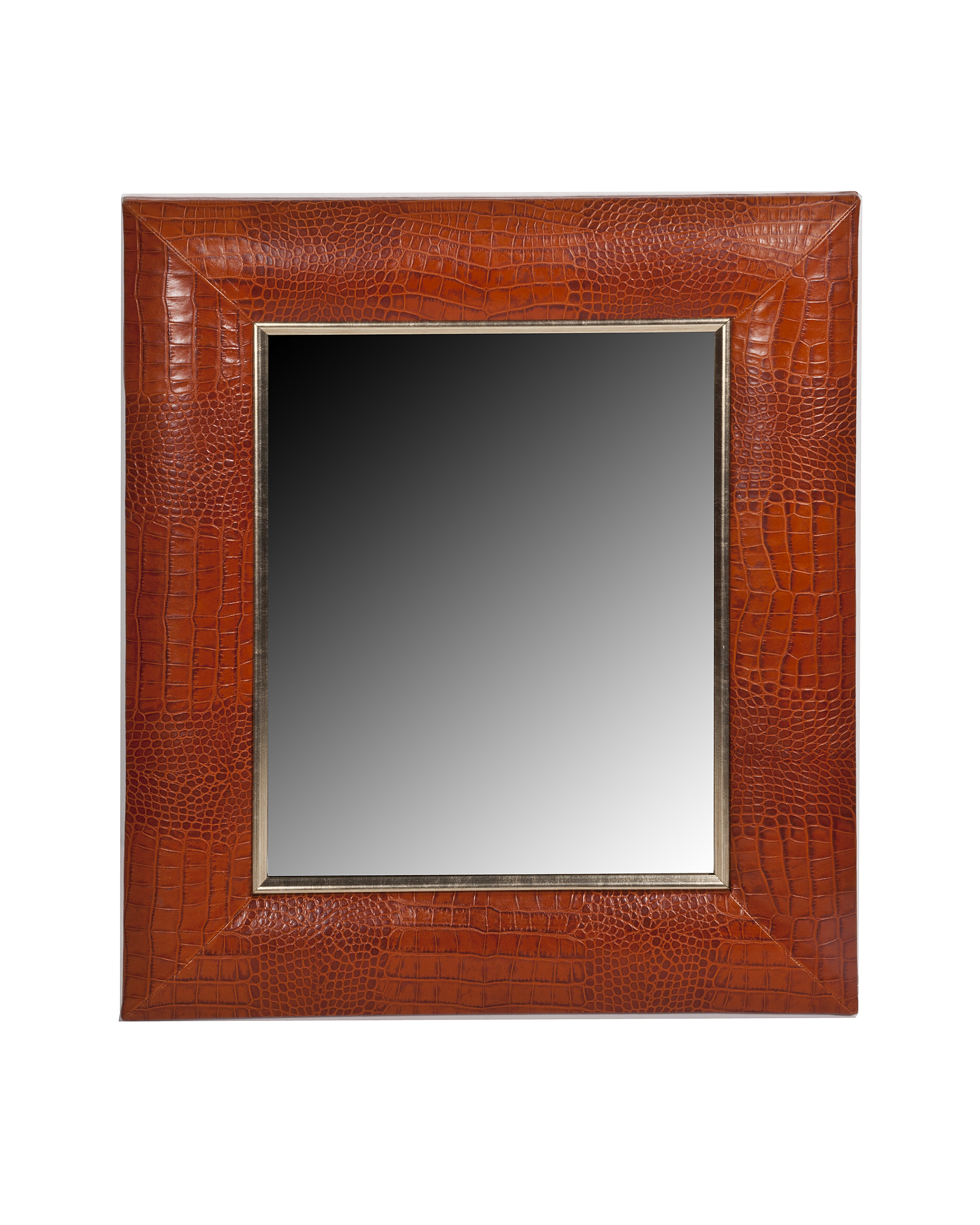 Croc Embossed Italian Leather Framed Mirror