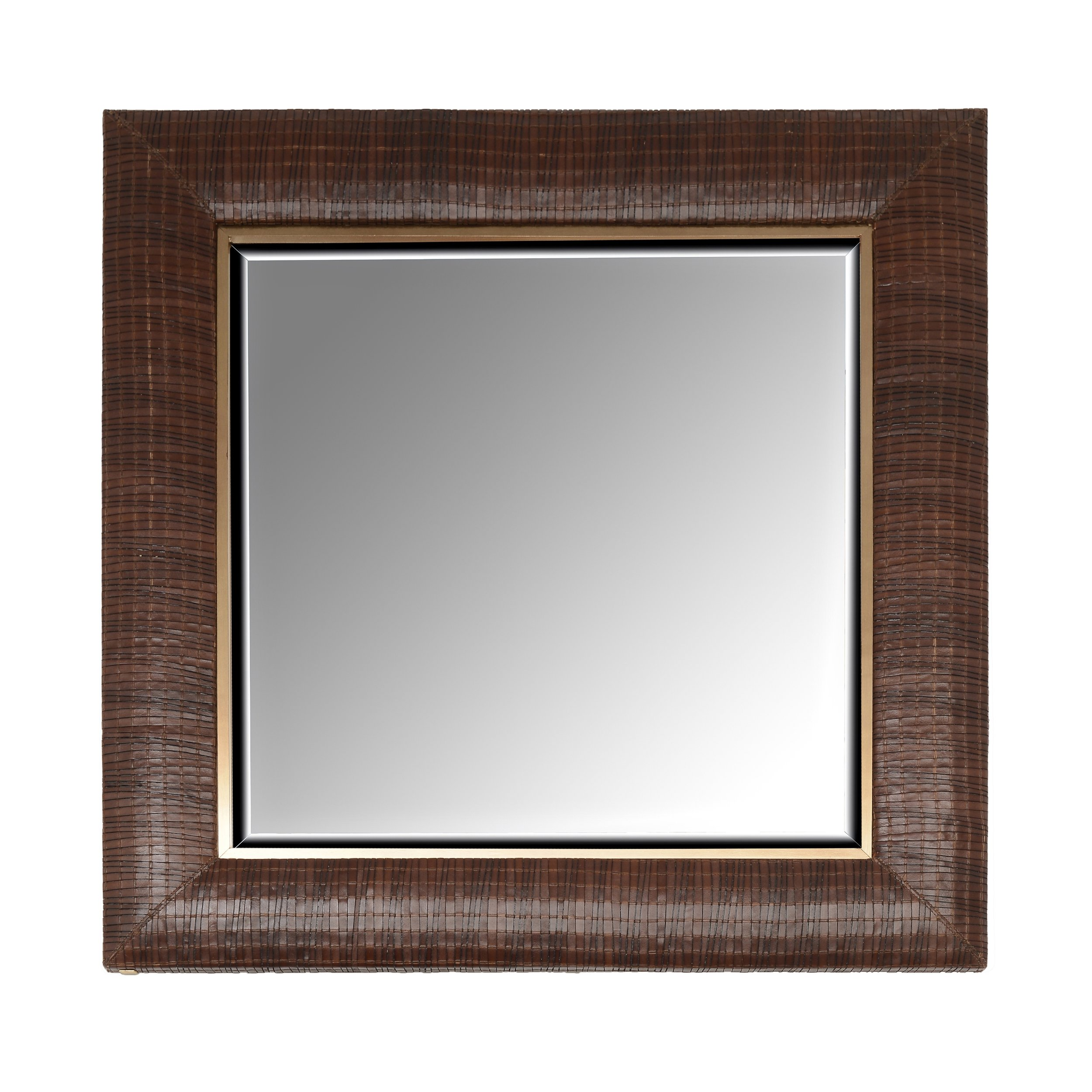 Woven Italian Leather Framed Mirror