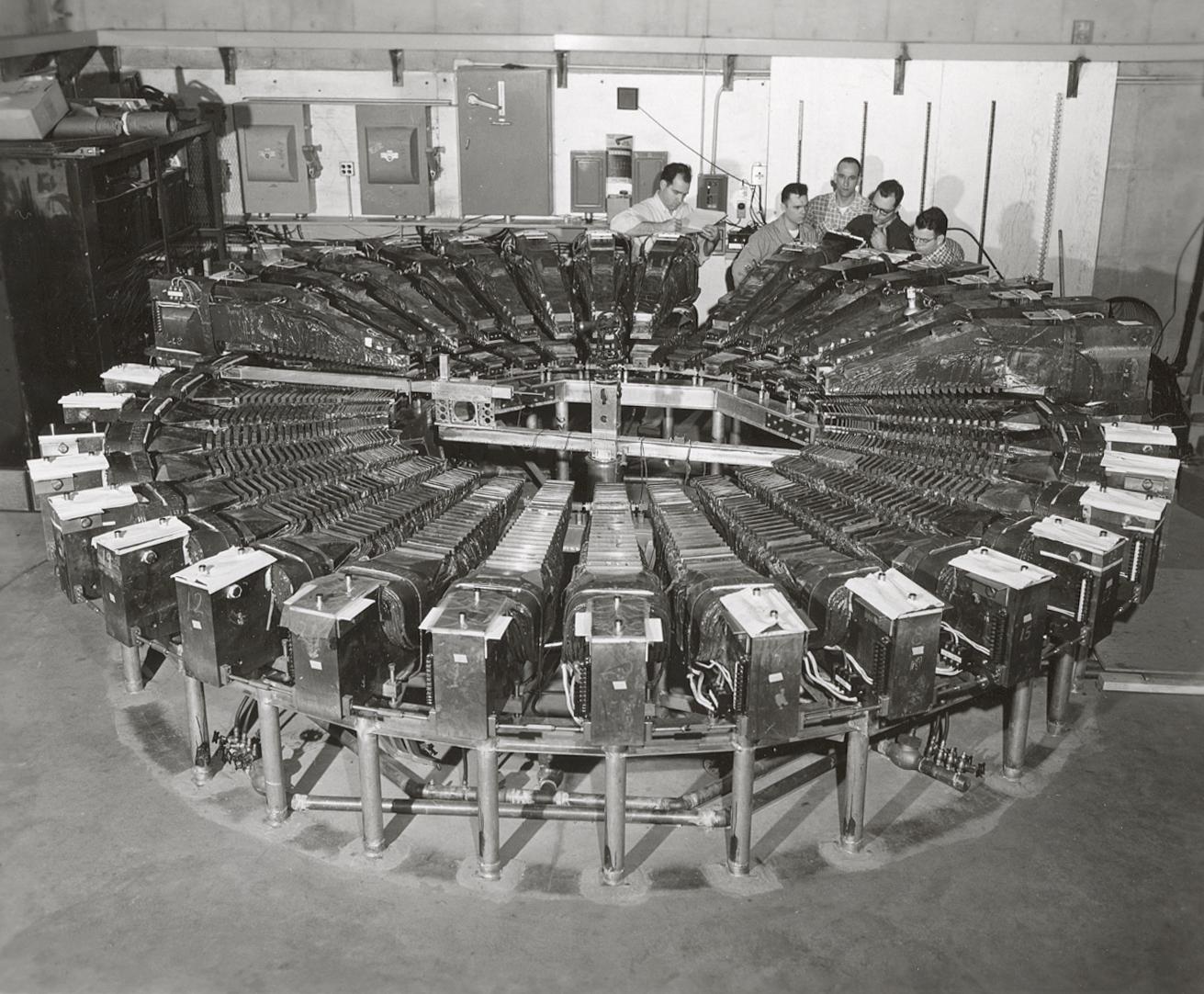 50 MeV machine on site at Midwestern Universities Research Association (MURA). Hugh Thornton, Carl Bauman, and Charlie Pratt. Photo: University of Wisconsin Madison Archives