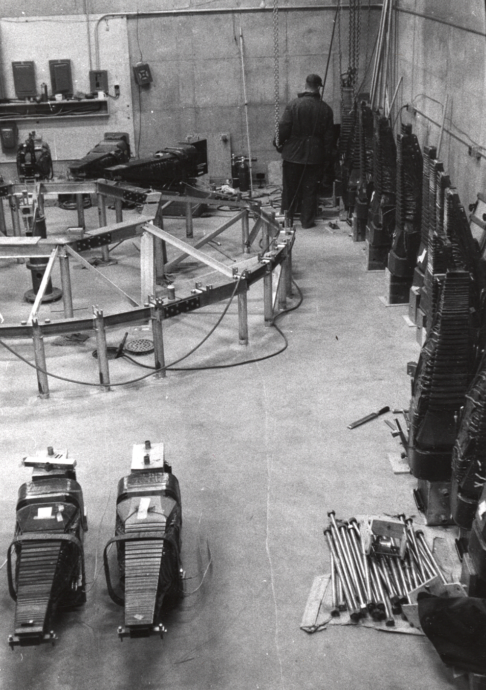 Equipment on site at Midwestern Universities Research Association (MURA).   Photo: University of Wisconsin Madison Archives